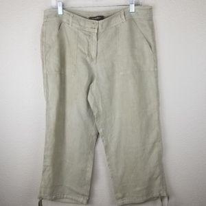 Tommy Bahama Tan Linen Capri Pants Size 10
